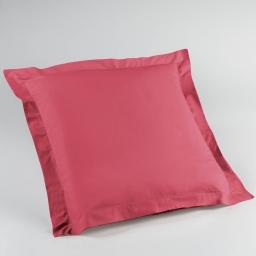 Taie d'oreiller volant plat 63 x 63 cm uni 57 fils lina Rouge