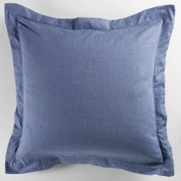 Taie d'oreiller volant plat 63x63 cm polycoton uni actually  +point bourdon Bleu