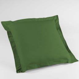 Taie d'oreiller volant plat 63x63 cm uni 57 fils lina  +point bourdon Vert sapin