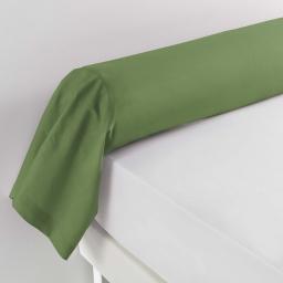 Taie de traversin 85 x 185 cm uni 57 fils lina  +point bourdon Vert sapin