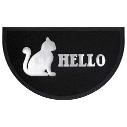 Tapis d'entree demi-lune 45 x 75 cm pvc hello cat Noir/Gris