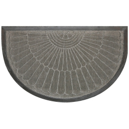 Tapis d'entree demi-lune 45 x 75 cm relief pvc coquille Gris