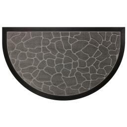 Tapis d'entree demi-lune 45 x 75 cm relief pvc galets Gris