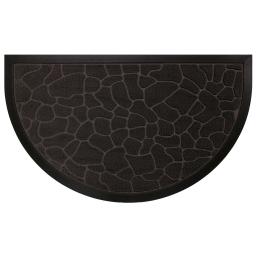 Tapis d'entree demi-lune 45 x 75 cm relief pvc galets Noir