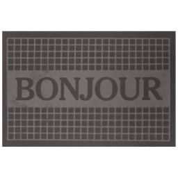 Tapis d'entree rectangle 40 x 60 cm anti-poussiere relief bonjour Gris