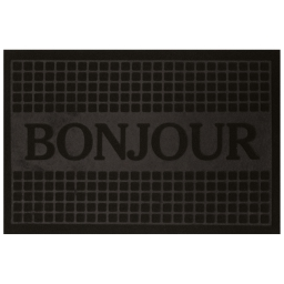Tapis d'entree rectangle 40 x 60 cm anti-poussiere relief bonjour Noir