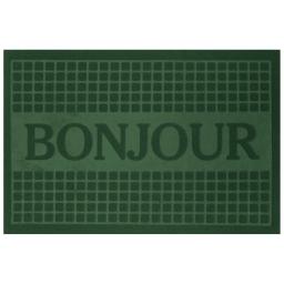 Tapis d'entree rectangle 40 x 60 cm anti-poussiere relief bonjour Vert
