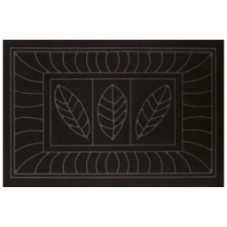 Tapis d'entree rectangle 40 x 60 cm anti-poussiere relief feuilles Noir