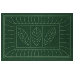 Tapis d'entree rectangle 40 x 60 cm anti-poussiere relief feuilles Vert
