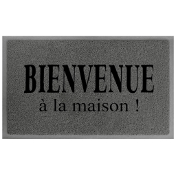 Tapis d'entree rectangle 45 x 75 cm pvc maison Gris/Noir