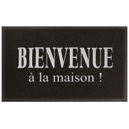 Tapis d'entree rectangle 45 x 75 cm pvc maison Noir/Gris