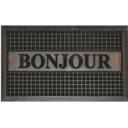 Tapis d'entree rectangle 45 x 75 cm relief pvc bonjour Noir