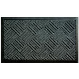 Tapis d'entree rectangle 45 x 75 cm relief pvc carreaux Gris