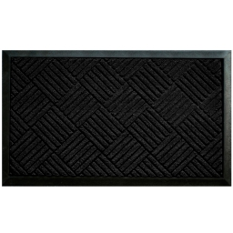 Tapis d'entree rectangle 45 x 75 cm relief pvc carreaux Noir