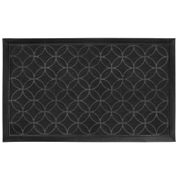 Tapis d'entree rectangle 45 x 75 cm relief pvc emilio Noir