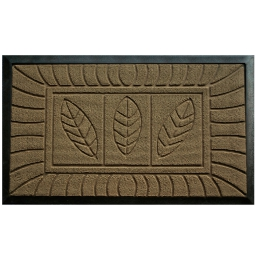 Tapis d'entree rectangle 45 x 75 cm relief pvc feuilles Naturel