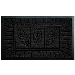 Tapis d'entree rectangle 45 x 75 cm relief pvc feuilles Noir