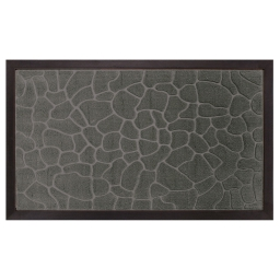 Tapis d'entree rectangle 45 x 75 cm relief pvc galets Gris