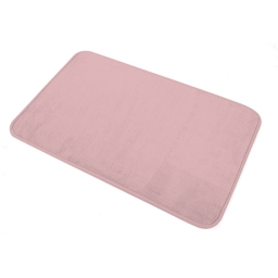 Tapis de bain 45 x 75 cm microfibre unie vitamine Rose poudre