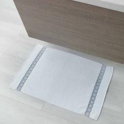 Tapis de bain 50 x 85 cm eponge unie jacquard adelie Blanc