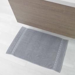 Tapis de bain 50 x 85 cm eponge unie jacquard adelie Gris