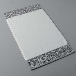 Tapis de bain 50 x 85 cm eponge unie jacquard goldy Blanc/argent