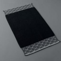 Tapis de bain 50 x 85 cm eponge unie jacquard goldy Noir/argent