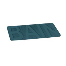 "Tapis de bain microfibre relief ""bain"" 45*75cm vitamine bleu emeraude Bleu/emeraude"