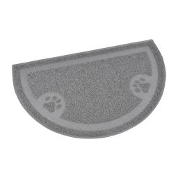 tapis de litiere pvc demi cercle pour chat l36*60cm gris