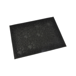tapis de litiere pvc rectangle pour chat l30*40cm noir impressions pattes