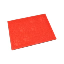 tapis de litiere pvc rectangle pour chat l30*40cm rouge impressions pattes
