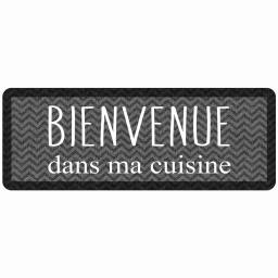 tapis deco rectangle 45 x 120 cm mousse imprimee kitchen black