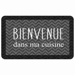 tapis deco rectangle 45 x 75 cm mousse imprimee kitchen black
