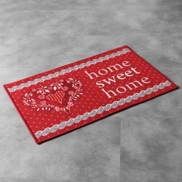 Tapis deco rectangle 50 x 120 cm imprime home love Rouge
