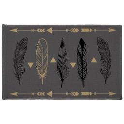tapis deco rectangle 50 x 80 cm imprime plume chic