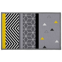 Tapis deco rectangle 50 x 80 cm imprime yellow mix Gris