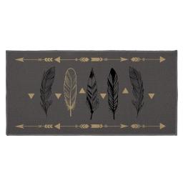 tapis deco rectangle 57 x 115 cm imprime plume chic