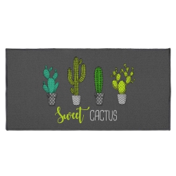 tapis deco rectangle 57 x 115 cm imprime sweet cactus