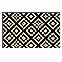 Tapis deco rectangle 60 x 110 cm tisse losika Noir