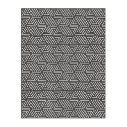 Tapis deco rectangle 68 x 110 cm viscose tissee indra Noir/gris