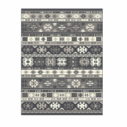 Tapis deco rectangle 68 x 110 cm viscose tissee mexicana Anthracite/ecru