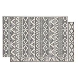 Tapis deco rectangle 80 x 150 cm tisse reversible bandana Blanc/gris