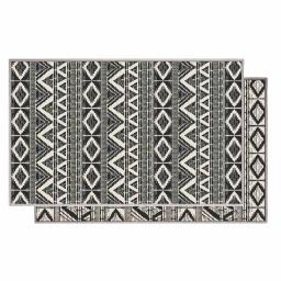 Tapis deco rectangle 80 x 150 cm tisse reversible bandana Blanc/noir