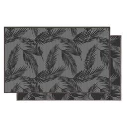 Tapis deco rectangle 80 x 150 cm tisse reversible copalme Gris/noir