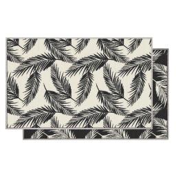 Tapis deco rectangle 80 x 150 cm tisse reversible copalme Noir/blanc