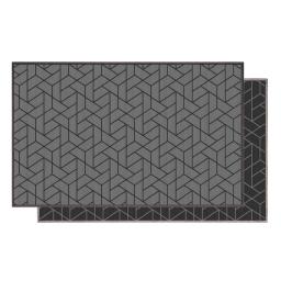 Tapis deco rectangle 80 x 150 cm tisse reversible harvey Gris/noir