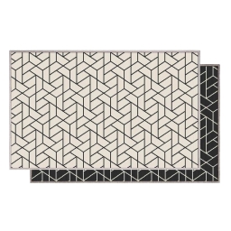 Tapis deco rectangle 80 x 150 cm tisse reversible harvey Noir/blanc