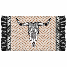 tapis rectangle 50 x 80 cm coton imprime tribal tete de buffle