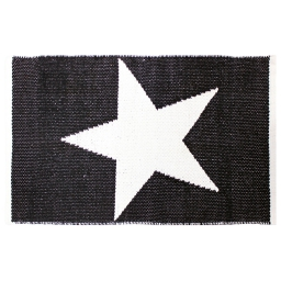 Tapis rectangle 50 x 80 cm coton jacquard superstar Noir/Blanc
