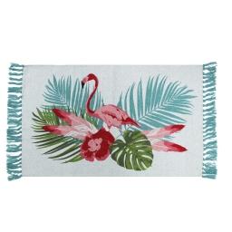 tapis rectangle a franges 50 x 80 cm coton imprime exotic life